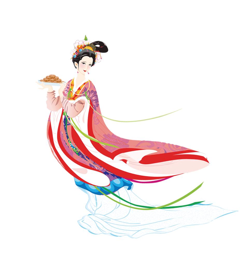 农家妇女彩色手绘图
